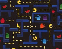 Timeless Treasures Black Pocket Arcade Collection PAC MAN Cotton Novelty Fabric by the Yard C2409