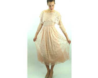 Lace dress blush pink delicate lace formal dress Size M