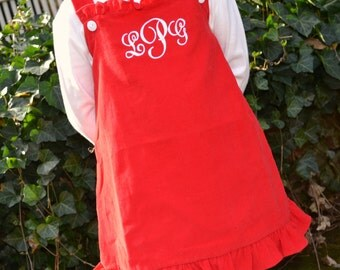 Monogrammed A-Line Dress - Red Corduroy