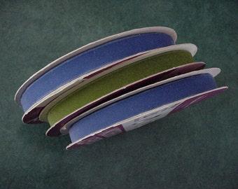 3 Vintage Vevety Ribbon 200 Satin Back 25 Yard Bolts Blue & Green Velvet New Old Stock Trim Sash