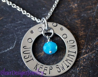JUST KEEP SWIMMING Necklace, Inspiration Necklace, Jewelry for Swimmers, Inspirational Jewelry