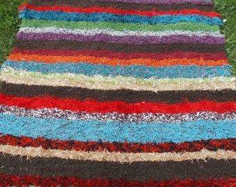 "5 ft 6""  x 4 ft  Striped Cotton recycled Jarapa Loft rug/mat from Spain. Woven Rag Rug."