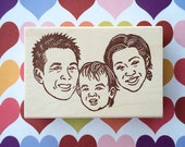 Family Portrait Stamp/ Face stamp/ Unique Christmas gift/ Christmas card/ Any texts on rubber stamp for FREE
