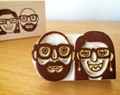 Muppet Portrait Stamp/ Portrait stamp/ Custom couple portrait stamp/ Wedding portrait/ Christmas gift/ FREE letterings on rubber stamps