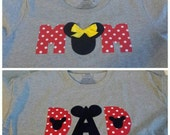Custom Mom and Dad - Disney Inspired Minnie Mickey Mouse Shirts - Minnie Ears - Made to Match Baby Toddler Girls -Birthday Disney Trips