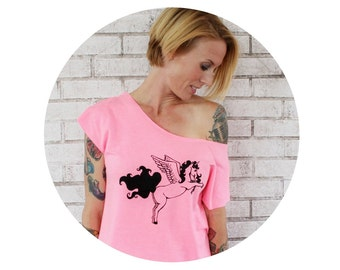 French Terry Unicorn With Wings Dolman Tshirt, Pegacorn Sweatshirt, Shot Sleeved Sweat Shirt, Bright Hot Pink, Fantasy Animal, Graphic Tee