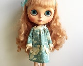 Blythe Dress,Long Sleeve ,Vintage Inspired, Mint Green Fabric