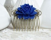 Dark Blue Rose Hair Comb/Vintage Hair Comb/Large Flower Hair Comb