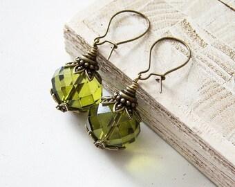 Olivine Earrings/Olive Green Crystal Earrings/Olive Green Retro Earrings/Olivine Crystal Earrings/Green Earrings