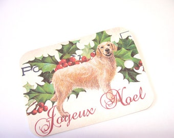 Dog Tags - Set Of 4 - Christmas Dog - Golden Retriever - French Dog Tags - Vintage Look - Holiday Tags -  Thank Yous - Noel Tags