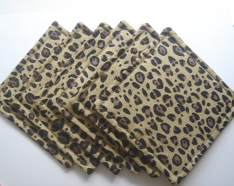 Fabric Coasters Leopard Print Brown and Black Six