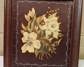 1940s Turner Botanical Airbrushed Litho Framed Art Print