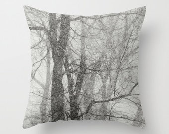 Pillow cover, snowy winter trees photo pillow,  shades of grey throw pillow, black and white pillow, bare tree pillow, living room decor
