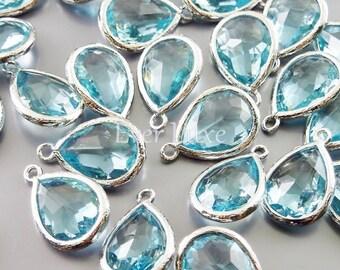 2 aqua blue glass tones with bezel setting pendants, charms for jewellery designs, wedding jewelry 5073R-AQ (bright silver, aqua, 2 pieces)