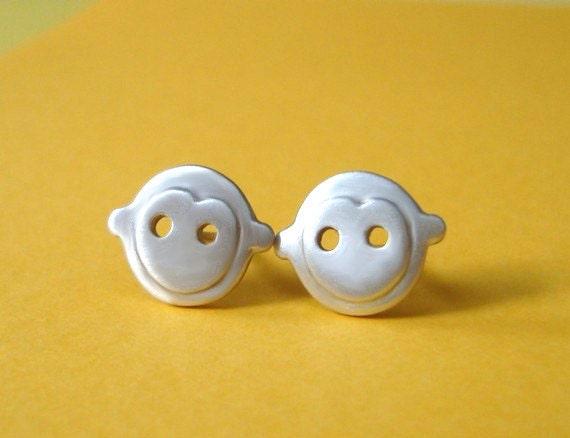 Monkey Stud Earrings in sterling silver Kids Jewelry Teen jewelry gift girl earrings  kawaii earrings winter earrings
