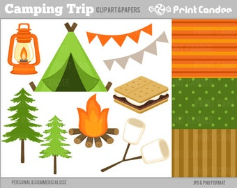 Camping Trip -  Digital Clip Art - Personal and Commercial Use - campout camp tent smores s'mores marshmallows fire pine tree lantern