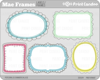 Mae Frames - Personal and Commercial Use - digital clipart clip art label modern sweet pretty