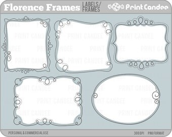 Florence Frames - Personal and Commercial Use - digital clipart clip art label modern sweet pretty