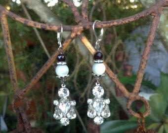 Upcycled Vintage Rhinestone Mother of Pearl and Garnet Assemblage Earrings,OOAK,Repurposed,Holidays,Rhinestone Earrings