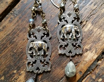 Upcycled Vintage Elephant Filigree Assemblage Earrings, Ooak,Repurposed,Good Luck