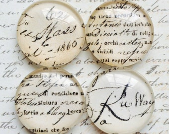 4 Glass Magnets - Decorative Magnets - French Magnets - Round - Vintage Script Magnets - Office Magnets - Refrigerator Magnets