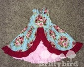Ready to Ship Girls Blue Pink and Red Rose Ruffle Dress size 4/5