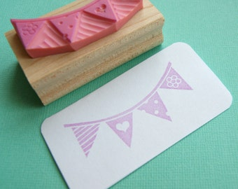 Bunting Stamp - Party Bunting - Hand carved rubber stamp