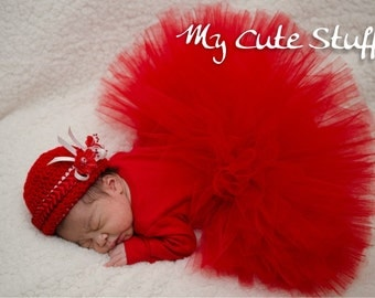 Red Princess Tutu and Crochet Hat - Tutu Set for Birthdays, Photo Props, Holidays, Flower Girl, Baby Shower Gift