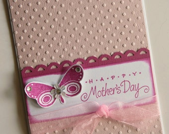 Embossed Mothers Day Card with Butterfly, Polka Dot and Pink Card for Mom, Happy Mother's Day Greeting, Thinking of you Mom (MD1509)
