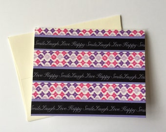 Purple Checkerboard Folded 5.5 x 4.25 Blank Note Card