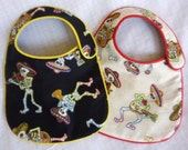 Dancing Musical Skeletons Baby Bibs for baby boy or girl set of 2 bibs