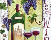 """WINE BAR Sign **Wine Bottle and Glasses with Grapes **  11"""" x17"""" Print of Original Acrylic on Canvas"""