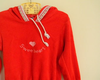 "Vintage Girl's Red Terrycloth Hooded ""Sweetheart"" Sweatshirt - Size 3T 4T"