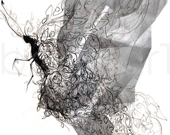 Butterfly Architecture, art print concept black and white hand drawing mixed media contemporary art model insect drawing abstract  artwork
