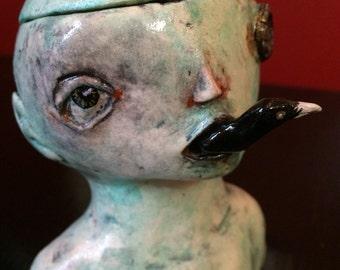 Steampunk bird in mouth desktop jewelry/trinket box
