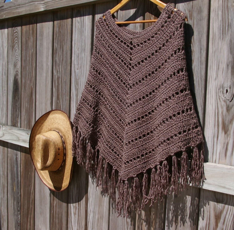 Bohemian Poncho Free Crochet Pattern : Boho Poncho Crochet Poncho Fringed Poncho in Mocha Brown