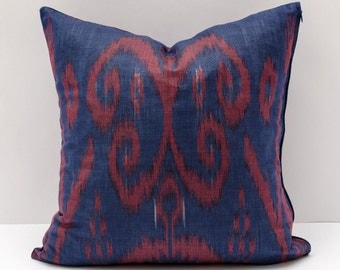 15x15 dark blue burgundy cotton ikat pillow cover, cotton ikat, cotton pillow, dark blue