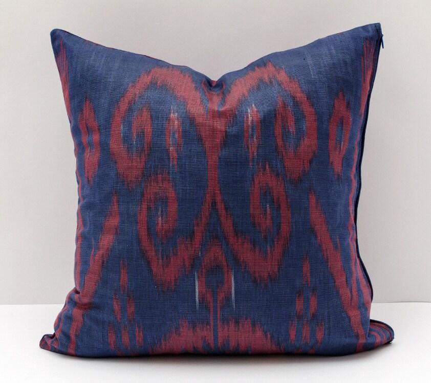 15x15 Throw Pillow Cover : 15x15 dark blue burgundy cotton ikat pillow cover cotton