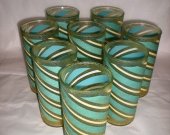 Set of 8 Vintage Glass Candy StripeTumblers 1950s