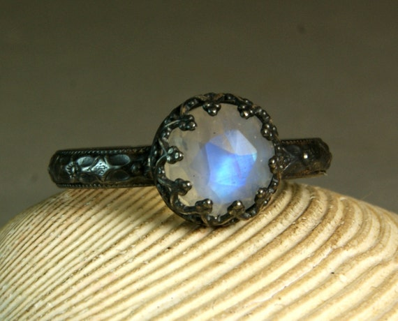 Rainbow Moonstone Engagement Ring, Artisan Gemstone Jewelry, Renaissance Style, custom size