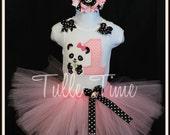 Baby's First 1st birthday PANDA theme Onesie bodysuit  pink purple tutu dress 6-12 months 12 months 18 months