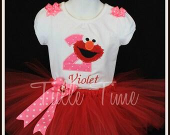 Elmo 2nd birthday shirt  tutu dress combo bow headband size 18m 24m 3t 4t
