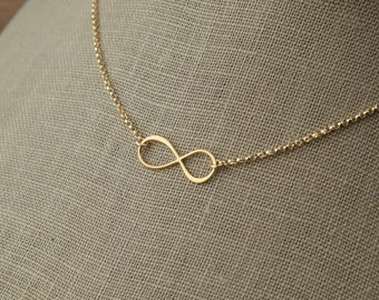 Gold infinity symbol and gold filled necklace, gold necklace, gold infinity charm, gold eternity, infinity jewelry