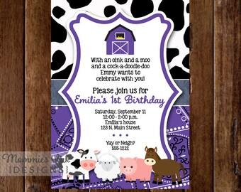 Purple Farm Invitation, Farm Animals Birthday Invitation, Farm Birthday Invitation, Purple Barn, Cow Print Invitation, Down on the Farm, DIY