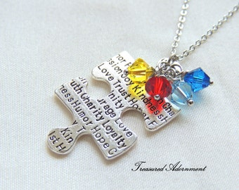 Autism Awareness Necklace with Swarovski Crystals, Puzzle piece necklace, Autism Mom, Mother's day gift, Reversible necklace