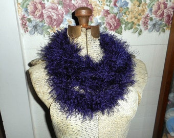 Nordic Sky Scarf. Skinny Infinity Scarf Fuzzy Neck Cowl Deep Purple Plum handmade crochet necklace accessory neck warmer