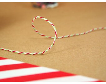 Christmas Twine Green and Red stripe