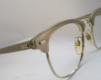 Vintage Grey Mist Horn Rim With Silver Accents Eyeglasses Frame Art Craft