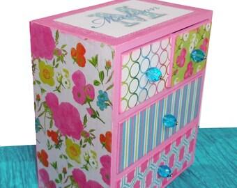 Girls Jewelry Box Personalized Pocketful of Posies