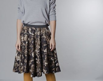 LAST SALE 50% off!!!! under 50, Plant print, round cut skirt with stretch belt